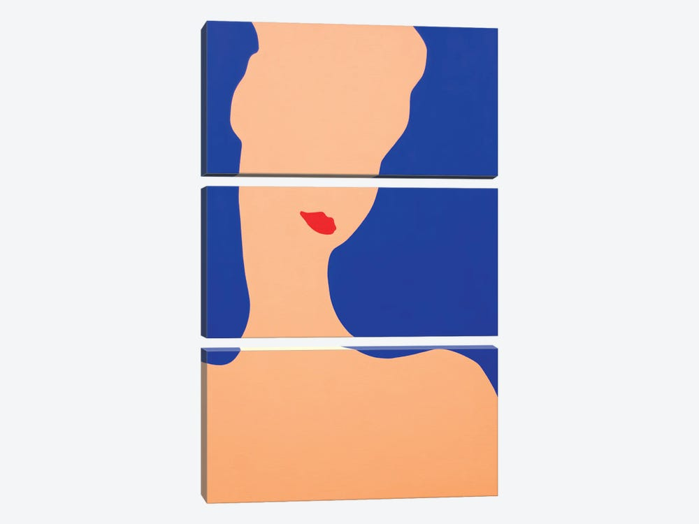 Young Lady With Red Lips by Daniel Kozeletckiy 3-piece Canvas Wall Art
