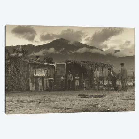 Paul Schuster Taylor Talking With Migrant Workers, Imperial Valley, California, USA Canvas Print #DLA10} by Dorothea Lange Canvas Print