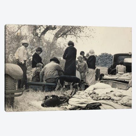 Penniless Oklahoma Refugees Along The Highway, Near Bakersfield, California, USA Canvas Print #DLA13} by Dorothea Lange Canvas Art Print