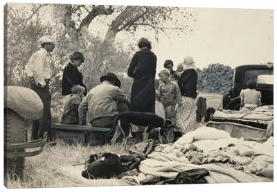 Penniless Oklahoma Refugees Along The Highway, Near Bakersfield, California, USA Canvas Art Print