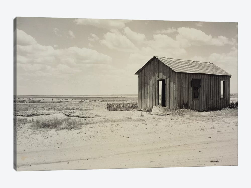 Drought-Abandoned House On The Edge Of The Great Plains, Hollis, Oklahoma, USA by Dorothea Lange 1-piece Canvas Wall Art