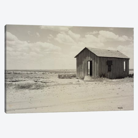Drought-Abandoned House On The Edge Of The Great Plains, Hollis, Oklahoma, USA 3-Piece Canvas #DLA2} by Dorothea Lange Canvas Print