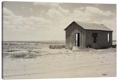 Drought-Abandoned House On The Edge Of The Great Plains, Hollis, Oklahoma, USA Canvas Art Print