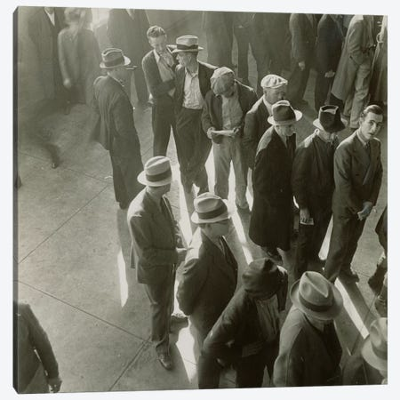 Men Waiting To File Claims In California During The First Days Of Unemployment Compensation Canvas Print #DLA7} by Dorothea Lange Canvas Art