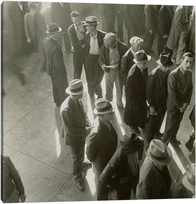 Men Waiting To File Claims In California During The First Days Of Unemployment Compensation Canvas Print #DLA7