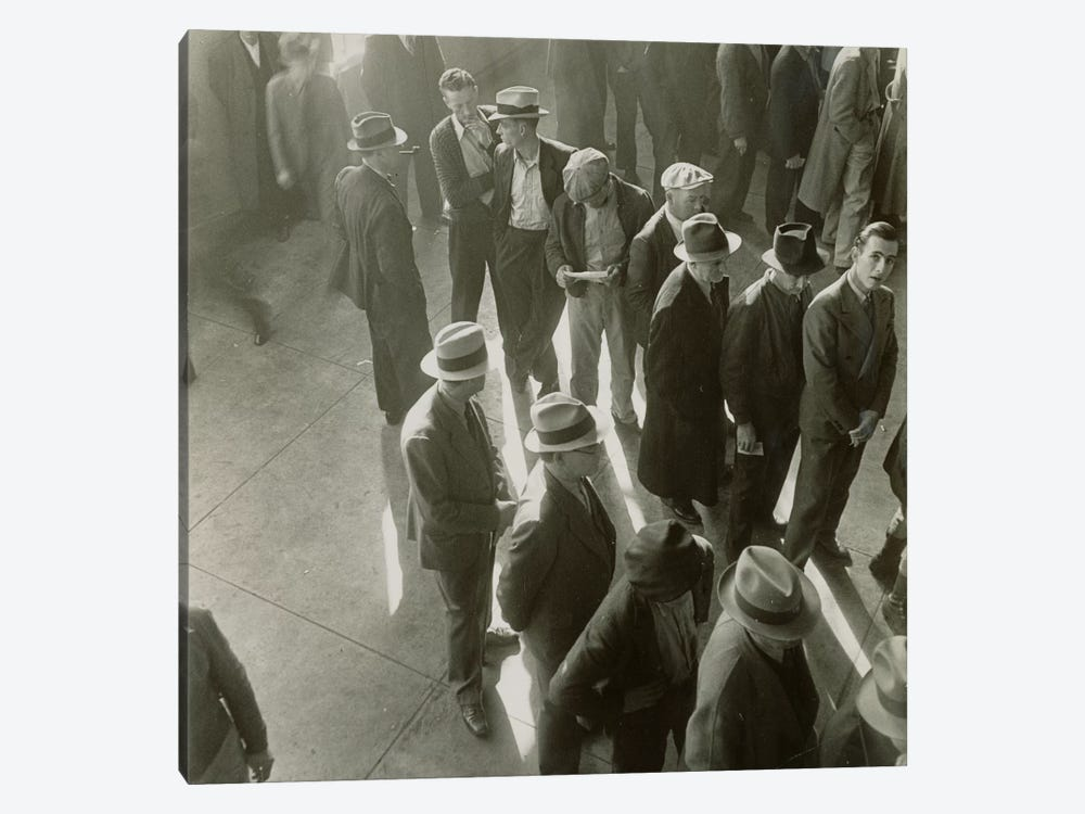 Men Waiting To File Claims In California During The First Days Of Unemployment Compensation by Dorothea Lange 1-piece Canvas Print