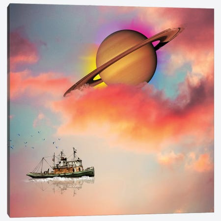 Tuging Around Saturn Canvas Print #DLB104} by David Loblaw Art Print