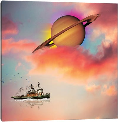 Tuging Around Saturn Canvas Art Print