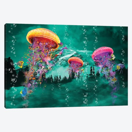 Electric Jellyfish in front of a Mountain Canvas Print #DLB105} by David Loblaw Art Print
