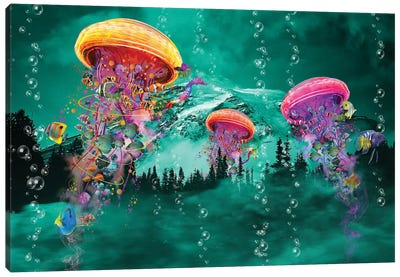 Electric Jellyfish in front of a Mountain Canvas Art Print
