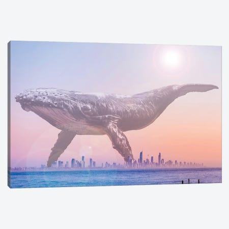 Mega Whale over a Hazy Surf City Canvas Print #DLB106} by David Loblaw Canvas Art Print