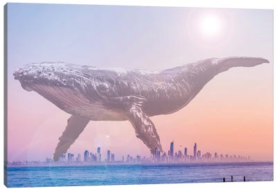 Mega Whale over a Hazy Surf City Canvas Art Print