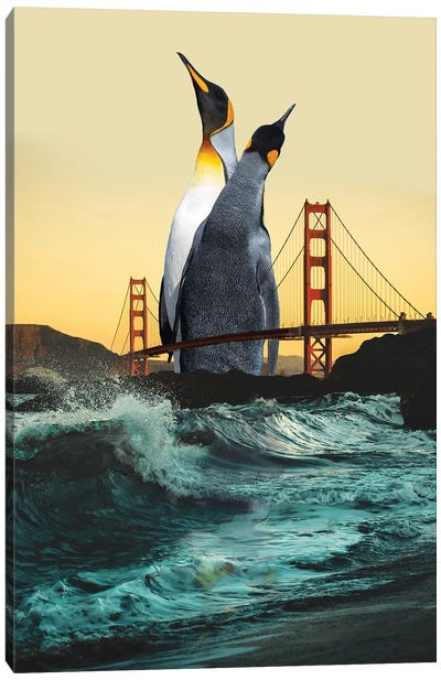 Golden Penguins Canvas Art Print