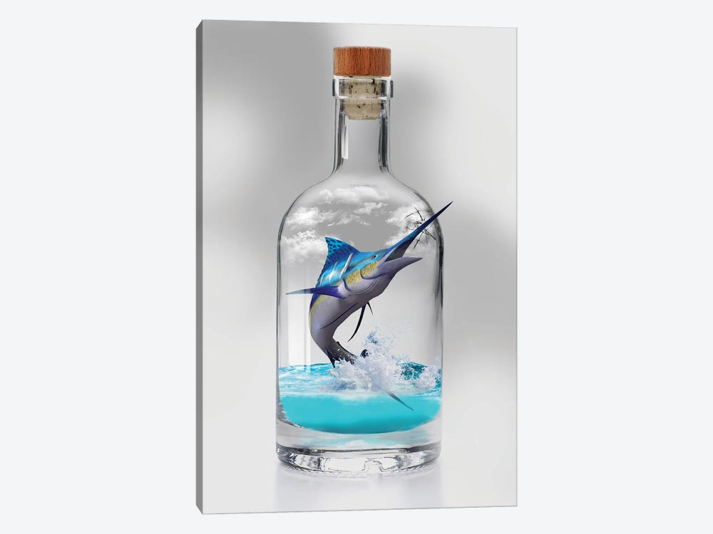 Sailfish In A Bottle 1-piece Canvas Print
