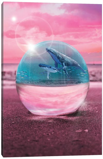 Crystal Beach Whale Watching Canvas Art Print