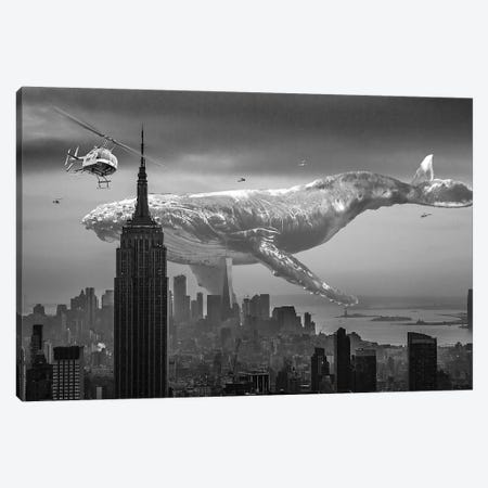 Mega Whale Over New York City Canvas Print #DLB116} by David Loblaw Canvas Wall Art