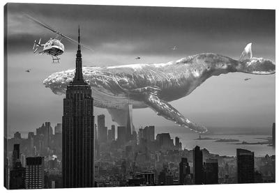 Mega Whale Over New York City Canvas Art Print