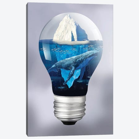 Whale And Iceberg In The Light Canvas Print #DLB117} by David Loblaw Canvas Wall Art