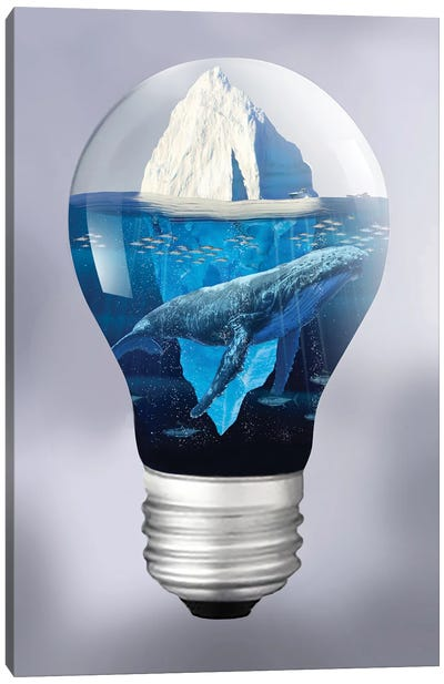 Whale And Iceberg In The Light Canvas Art Print