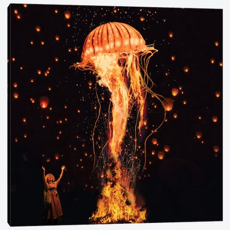 Jellyfish Rising From The Flames Canvas Print #DLB13} by David Loblaw Canvas Artwork