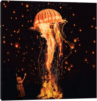 Jellyfish Rising From The Flames Canvas Art Print