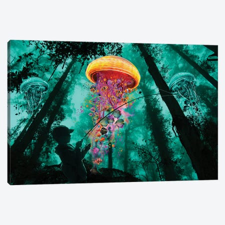 Jelly Fishing Canvas Print #DLB14} by David Loblaw Canvas Art Print