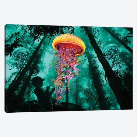 Jelly Fishing Canvas Print #DLB14} by David Loblaw Canvas Art Print