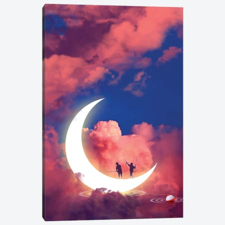 Moon Fishing Canvas Print #DLB19} by David Loblaw Canvas Wall Art