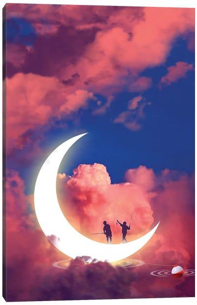 Moon Fishing Canvas Art Print