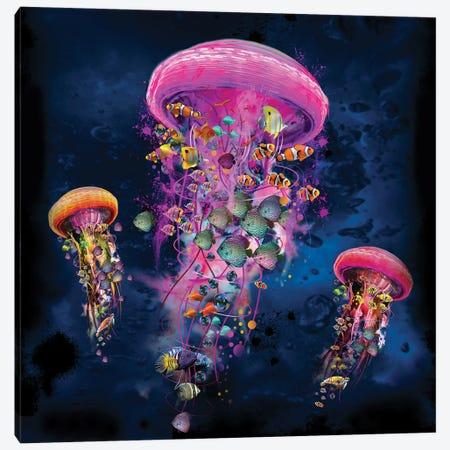 Electric Jellyfish World Pink Canvas Print #DLB1} by David Loblaw Canvas Artwork