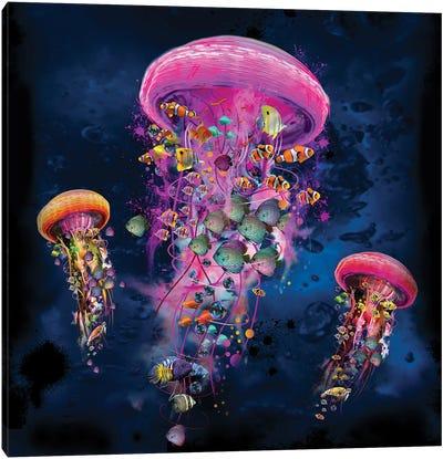 Electric Jellyfish World Pink Canvas Art Print