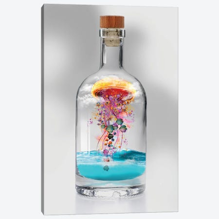 Electric Jellyfish In A Bottle Canvas Print #DLB25} by David Loblaw Canvas Wall Art