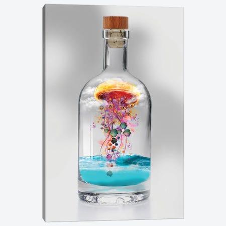 Electric Jellyfish In A Bottle Canvas Print #DLB25} by David Loblaw Canvas Wall Art