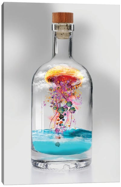 Electric Jellyfish In A Bottle Canvas Art Print