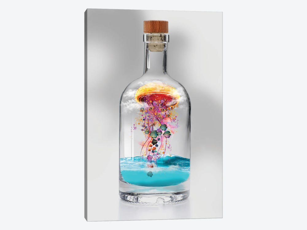 Electric Jellyfish In A Bottle by David Loblaw 1-piece Canvas Artwork