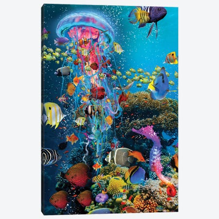 Electric Jellyfish At The Reef Canvas Print #DLB31} by David Loblaw Canvas Wall Art