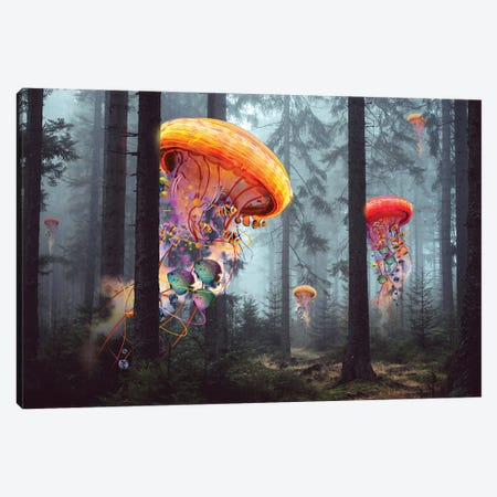 Electric Jellyfish Forest Canvas Print #DLB32} by David Loblaw Canvas Art