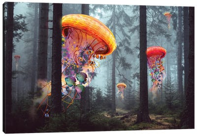 Electric Jellyfish Forest Canvas Art Print