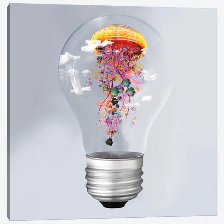 Electric Jellyfish In A Lightbulb Canvas Print #DLB33} by David Loblaw Canvas Wall Art