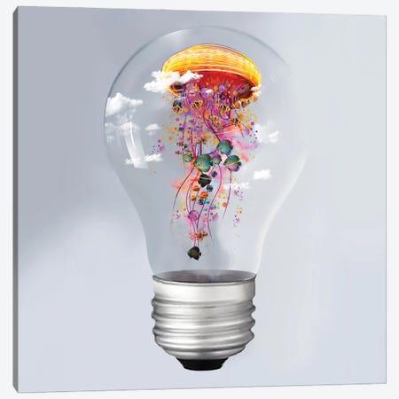 Electric Jellyfish In A Lightbulb Canvas Print #DLB33} by David Loblaw Canvas Wall Art