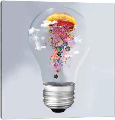 Electric Jellyfish In A Lightbulb Canvas Art Print