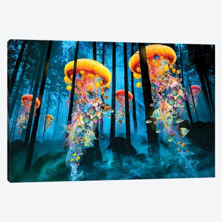Electric Jellyfish In A New Blue Forest Canvas Print #DLB34} by David Loblaw Canvas Art Print