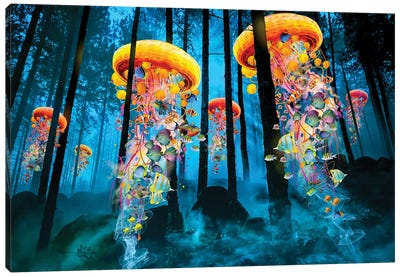 Electric Jellyfish In A New Blue Forest Canvas Art Print