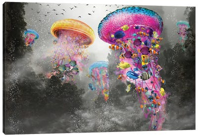 Electric Jellyfish In The Myst Mountain Canvas Art Print