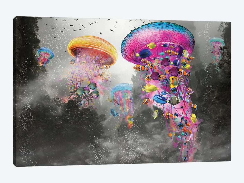 Electric Jellyfish In The Myst Mountain by David Loblaw 1-piece Canvas Art