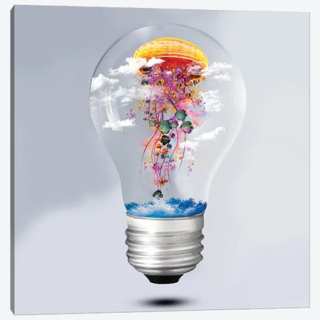Electric Jellyfish Lightbulb Canvas Print #DLB37} by David Loblaw Canvas Print