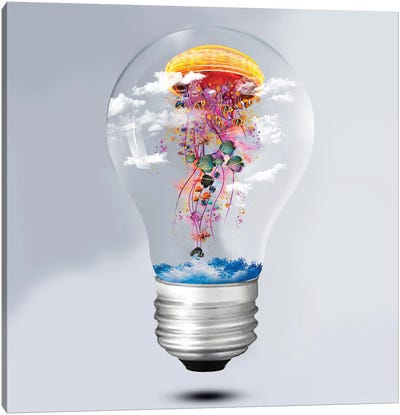 Electric Jellyfish Lightbulb Canvas Art Print