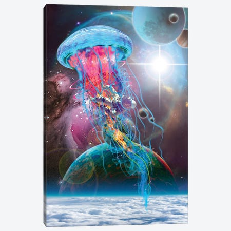 Lectric Jellyfish Space Monster Canvas Print #DLB38} by David Loblaw Canvas Wall Art