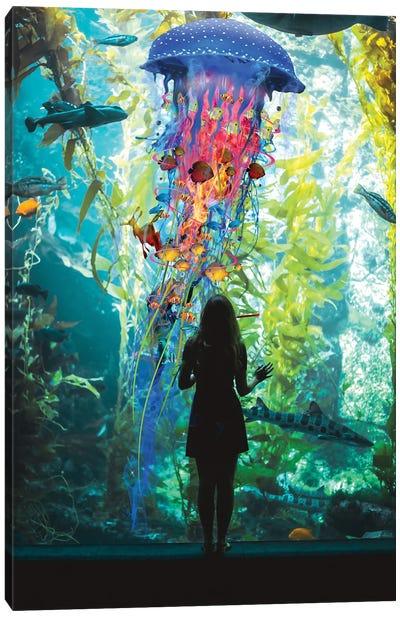Electric Jellyfish World Is An Aquarium Canvas Art Print