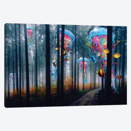 Forest Of Super Electric Jellyfish Canvas Print #DLB3} by David Loblaw Canvas Wall Art